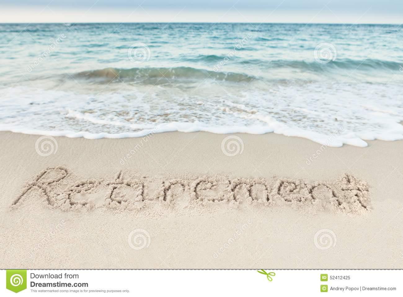 retirement-written-sand-sea-beach-52412425